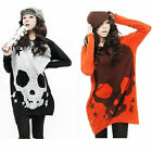 Fashion Womens Skull Pullover Jumper Loose Knitwear Sweater Tops Blouse T-shirt