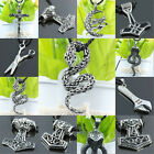 1Pc Men's Gothic Stainless Steel Thor's Hammer Spanner Cross Moon Pendant Charms