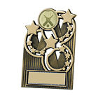 Gold Striped Star Football Plaque Sport Trophy - 3 sizes - FREE ENGRAVING GW261