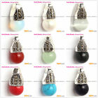 New Beauty Marcasite Silver Pendant with 12mm Round Beads+Free Gift Box/Chain