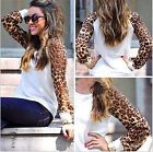Womens Casual Round Neck Long Sleeve Leopard Print Sweatshirt T-shirt Blouse Top