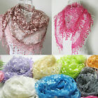 CHIC New Lace Tassel Rose Floral Knit Mantilla Triangle Hollow Scarf Shawl Wrap