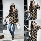 Women's Dot Print Long Sleeves Round Neck T-shirts Pullover Loose Blouse Tops