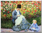 Stretched Canvas Art Camille and Child in the Garden by Claude Monet Repro Print