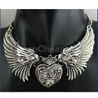 New Angel Wings Necklaces Collar Rhinestone Bib chain  Women Love Heart Pendant