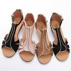BN Ankle Strap Low Wedge Platform Stappy Boho Chic Gladiator Sandals 3 Colors