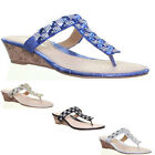 13223 Womens Low Wedge Sandals Open Toe Ladies Diamond Fashion Shoes