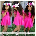 2015 New Baby Girls Hot Pink Short Sleeve Summer Dress  Fit 1-6Y