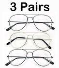 3 or 6 Pair Black Silver Aviator Metal Frames Woman Men Readers Reading Glasses