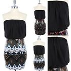 Geometric Pattern Sequins Bottom Chiffon Upper Tube Dress Strapless Style S M L