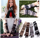 Hand Warmer Mitten Gloves Long Fingerless Snowflake Winter Fashion Arm Wrist NEW