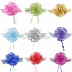 50mm Organza Pull Bow Striped Ribbons Wedding Party Florist Pew Puff Color Gifts