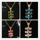 14k Gold Filled Austrian Crystal Women Leaf Pendant Necklace Jewelry In 6 Colors