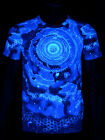 "Schwarzlicht Neon Stretch T-Shirt ""Blue Blocks"" Goa Blacklight"