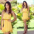 1PC Women Summer Sleeveless Yellow Strap Sexy Lace Party Evening Dress T14S