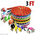 For Android Phones Flat. Braided Micro USB 2.0 Charging & Sync Charger Cord lot