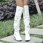 Women's White Sexy Patent LeatherOver Knee HighFlat Boots UK Size:2-6 3 Colors