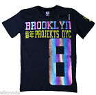 Projekts NYC Mens Black Multi Coloured Brooklyn T Shirt Free Ship BNWT Small XL