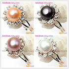 Fashion Beautiful 7-8mm Freshwater Pearl White Gold Plated Ring Adjustable Size