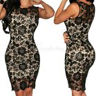 Women's Sexy Slim Black Crochet Nude Illusion Bodycon Dress