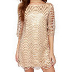 Sexy Fashion Women Waves Striped Lace Hollow Out Half Sleeve Loose Mini Dress