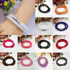 Colorful Stardust Crystal Wrap Mesh Magnetic Clasp Double Bracelet/Necklace Gift