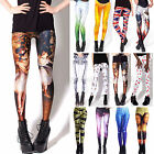 Fashion Women Punk Digital Graphic Printed Stretchy Tight Pencil Leggings Pants