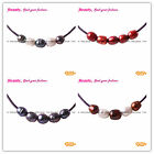 New 9-10mm Pearls 5 pcs Strand with Adjustable Black Rope Jewelry Necklace 17.5""