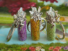 GLITTER CHARM FAIRY DUST BOTTLE CHARM GLASS GOLD GREEN BLUE PURPLE BAG KEYRING