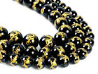 "Carved dragon black agate round loose beads 15.5""  10mm 12mm 14mm"