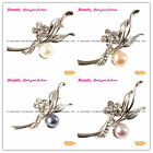 New Jewelry 20x45mm Freshwater Pearl Beads White Gold Plated Flower Pin Brooch