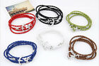 New Hot Fashion Unique punk charm Anchor Leather Rope Bracelet Bangle boy/girl's