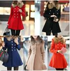 Vogue Women Slim Coat Jacket Double Breasted Trench Wool Fur Collar Outwear - CB