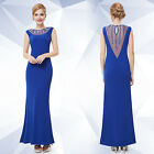 Ever Pretty Women's Maxi Formal Evening Blue Ball Gown Prom Dresses 08445