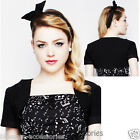 RKP75 Hell Bunny Black Aretha Bolero Mini Jacket Retro Rockabilly Pin Up Shrug