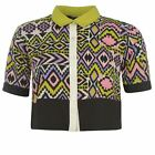 Miso Womens All Over Print Boxy Shirt Ladies Short Sleeve Button Fastening Top
