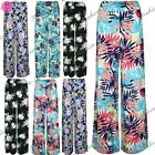 Womens Ladies Summer Flared Wide Leg Parallel Pants Trousers Palazzo Leggings