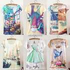 Women Girl Floral Printed Blouse Top Casual Short Sleeve Loose T Shirt Top N4U8