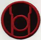 """5"""" Red Lantern Corps Classic Style Embroidered Iron-on Patch on Black Fabric"""