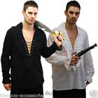CSW12 Mens Pirate Medieval Shirt White or Black Long Sleeve Party Costume Outfit