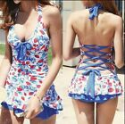 One Piece Strawberry Print Deep V Halter Padded Swimwear with attached bottom E