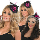 Mini Black Pink Top Hat Hen Party Hats Burlesque Party Hen Night NEW Bride to Be
