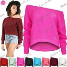 Womens Ladies Chunky Cable Knit Stretchy Hi Lo Bardot Off the Shoulder Crop Top