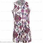 Ladies Merlin Aztec Tribal Cream Frill Floral Back Wing Zip Pocket Playsuit