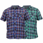 Mens Checked Shirts Dissident Tartan Cotton Collared Short Sleeved Summer Casual