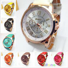 Fashion Chic Women Geneva Roman Numerals Faux Leather Analog Quartz Wrist Watch