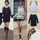 Korean Women Leopard Printed Long Sleeve Casual Loose T shirt Tops Blouse W2B