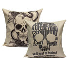 Vintage Linen Skull Waist Throw Pillow Case Sofa Back Cushion Cover Square Decor