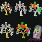 10pcs Lovely 3D Tree Rhinestone Crystal Alloy Jewelry Nail Art Phone Decorations
