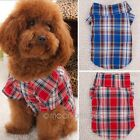 Pet Plaids T Shirt Dog Puppy Short Sleeve Top Clothes Sweatshirt Costume Coat